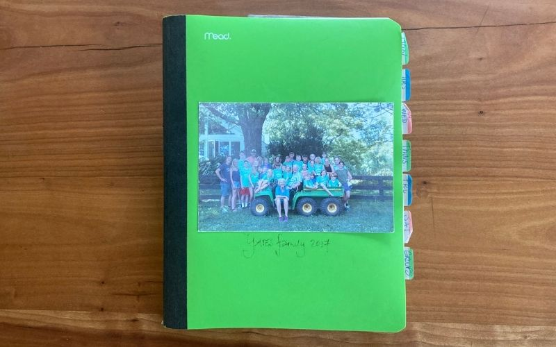 Green notebook with a family picture on the front and tabs. Susan Alexander Yates' prayer journal.