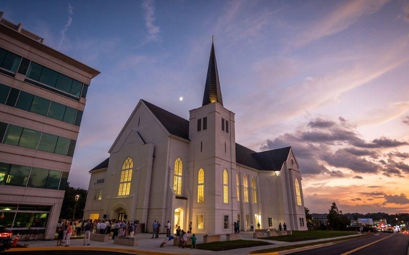 The Falls Church Anglican, at sunset. Falls Church, VA.